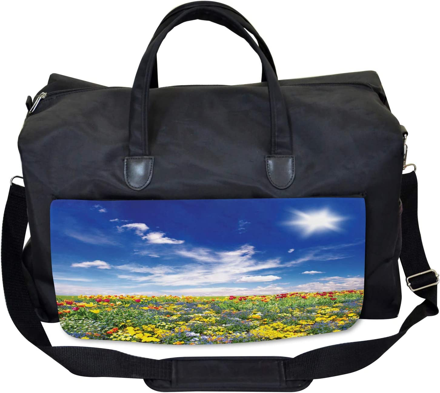 Large Weekender Carry-on Flowers Cloudy Sky Ambesonne Colorful Gym Bag