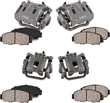 REAR 4 Ceramic Brake Pads Kit Premium Grade Semi-Loaded OE Caliper FRONT