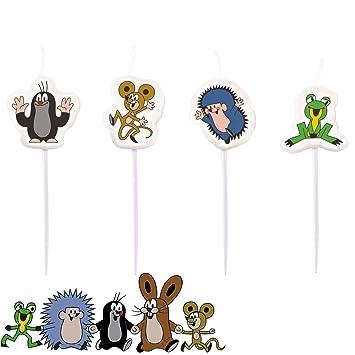 4 Mini Kerzen Der Kleine Maulwurf Fur Den Kindergeburtstag Oder