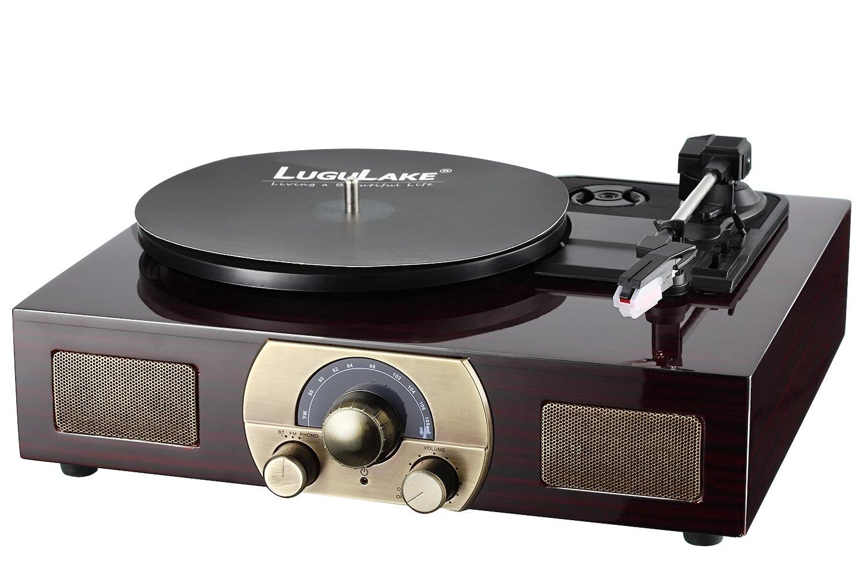 LuguLake Tocadiscos estéreo de 3 velocidades con altavoces incorporados, salida RCA, FM, BT: Amazon.es: Electrónica