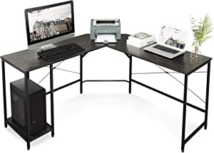 DEVAISE L Shaped Computer Desk, Modern Corner Computer Desks with CPU Stand Adjustable Shelves for Home Office Study Writing Gaming Wooden Table Workstation (Black)