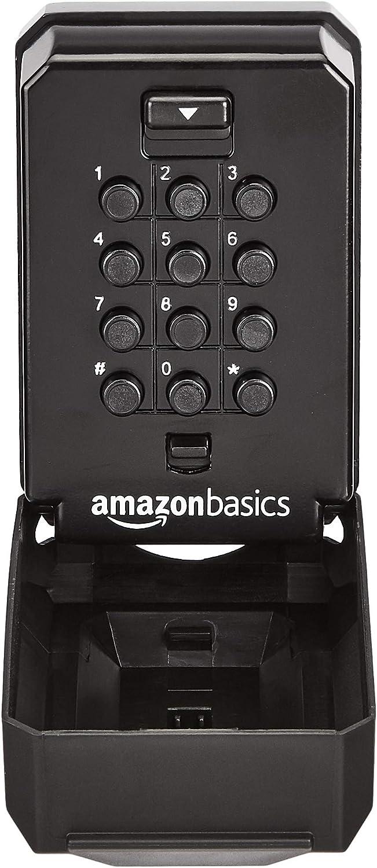 AmazonBasics Wall Mount Push Button Key Storage Lock Box, Black/Grey, 1-Pack