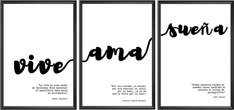 Láminas Decorativas para Enmarcar. Set de 3 Láminas Modernas Estilo Nórdico de Frases Motivadoras en Blanco y Negro [Vive, AMA, SUEÑA]. Láminas Decorativas para Salón. Tamaño A4.
