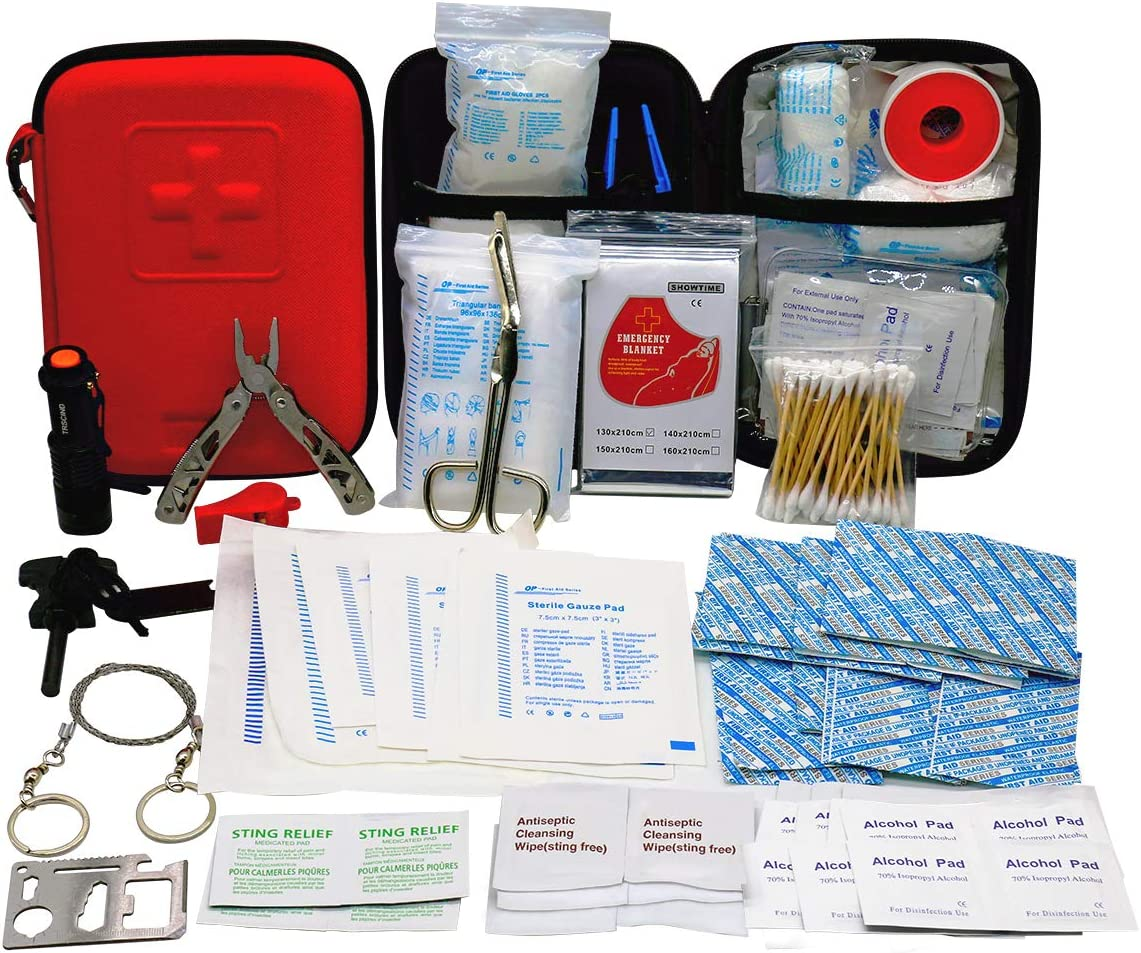 Amazon.com: First Aid Kit with 2 pcs Face Mask Earthquake Survival Kit for  Emergencies at Home Car Camping Traveling Boat Business, First Aid Kit That  is Great for School, Office, Vehicle, Camping