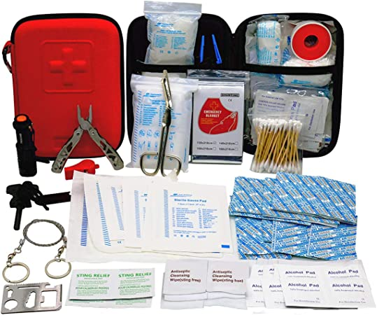 Amazon Com First Aid Kit With 2 Pcs Face Mask Earthquake Survival Kit For Emergencies At Home Car Camping Traveling Boat Business First Aid Kit That Is Great For School Office Vehicle Camping