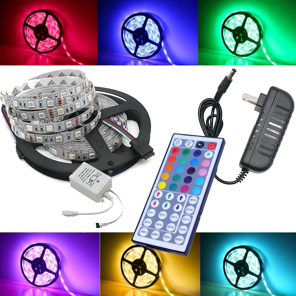 Amazon magic beam 5 meter 164 ft led strip lighting full kit amazon magic beam 5 meter 164 ft led strip lighting full kit 5050 rgb 150 led flexible color changing led light strips with power supply 44 key ir aloadofball Image collections