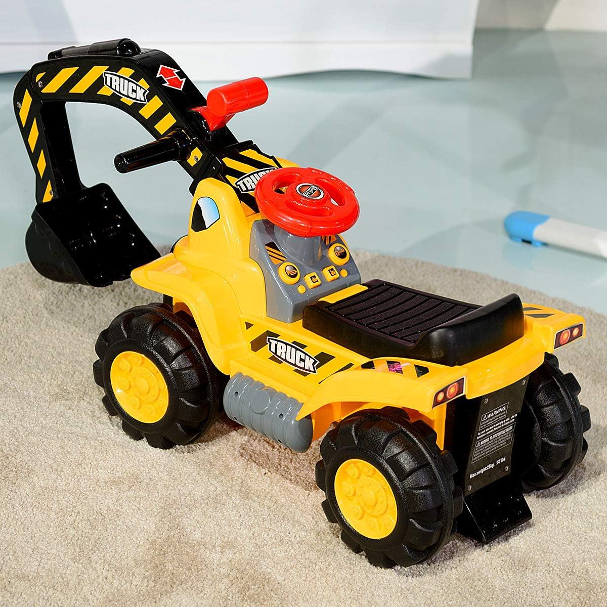 89 x 45 x 30 cm Adatto Bambini da 3 Anni in su Ruspa Giocattolo Cavalcabile Elettrica Costway Ruspa Elettrica Multifunzione per Bambini