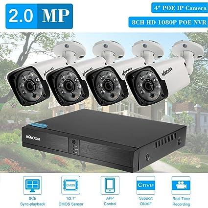 KKmoon 8CH NVR POE Full HD 1080P Grabador de Video de Red + 4x IP Cámara