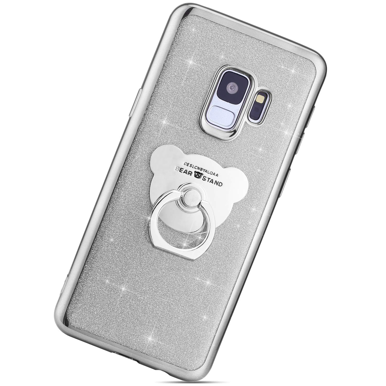 93e9db82ce7882 JAWSEU Case Compatible with Samsung Galaxy S9 Glitter Bling Shiny Sparkle  Crystal TPU Silicone Soft Gel ...