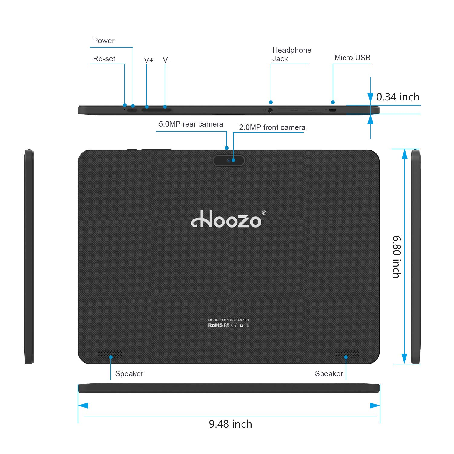 Android Tablet 10 Inch, Android 8.1 Go Unlocked Tablet PC with SIM Card Slots, 3G Phone Support, Quad Core, 1.3GHz, 16GB, 2MP+5MP Dual Camera, WiFi, Bluetooth, GPS by Hoozo (Image #10)