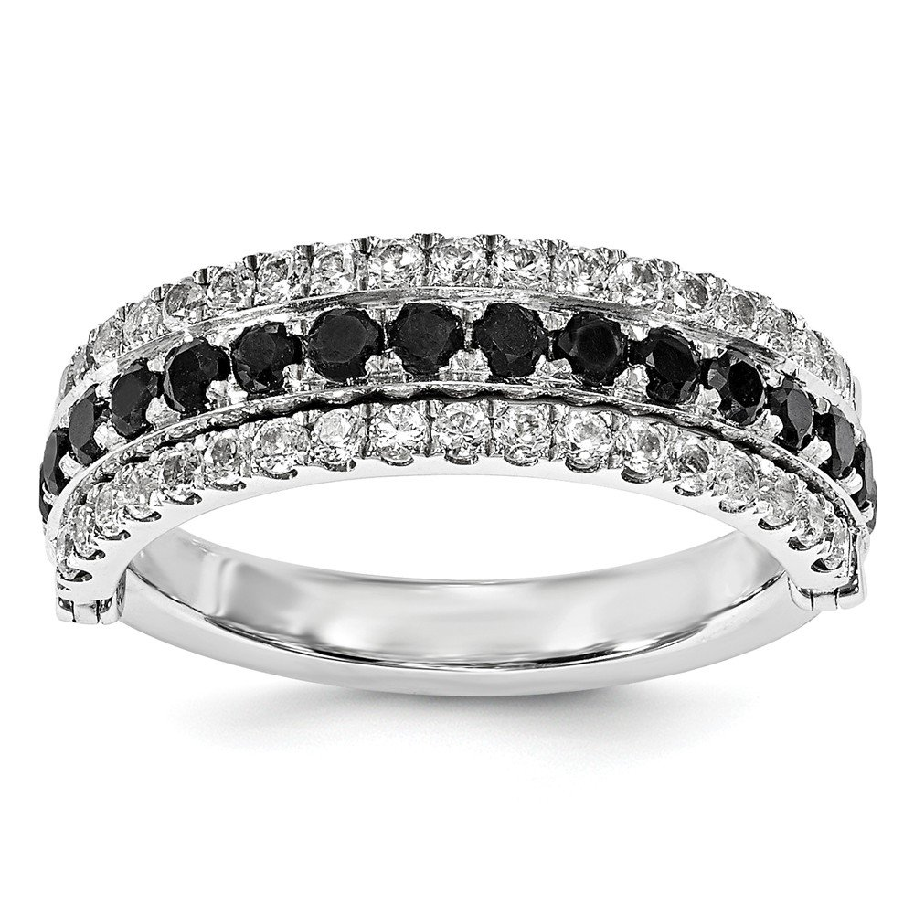 Sterling Silver Stack Exp Created White Sapphire & Black Sapphire Flip Ring Size 6