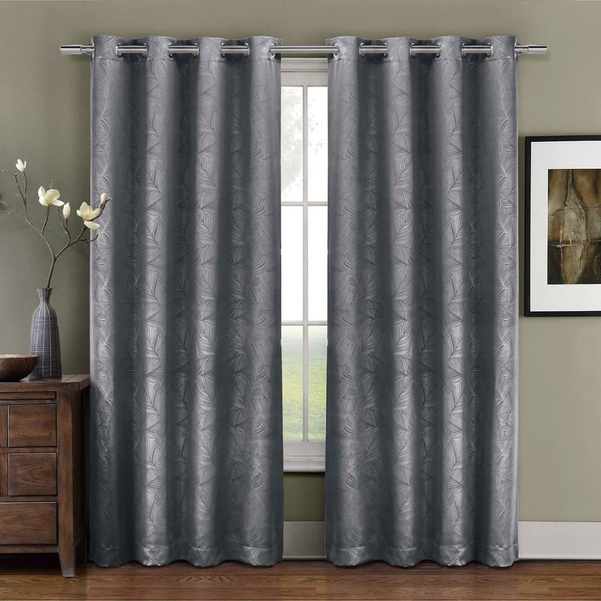 Deluxe Energy Efficient Room Darkening. Pair of Two Top Grommet Blackout Weave Embossed Curtain Panel, Triple-Pass Foam Back Layer, Elegant and Contemporary Prairie Blackout Panel, Grey, 108 Panel