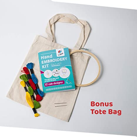 quiet time crafts hand embroidery kit sustainable crafts kit eco friendly crafting Little embroidery kit embroider a bag craft kit