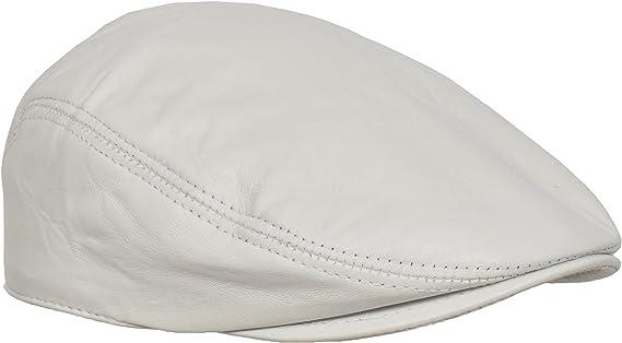 Mens Headwear White Leather Flat Cap English Granddad Hat News-boy Classic  Cap - Arthur: Amazon.co.uk: Clothing