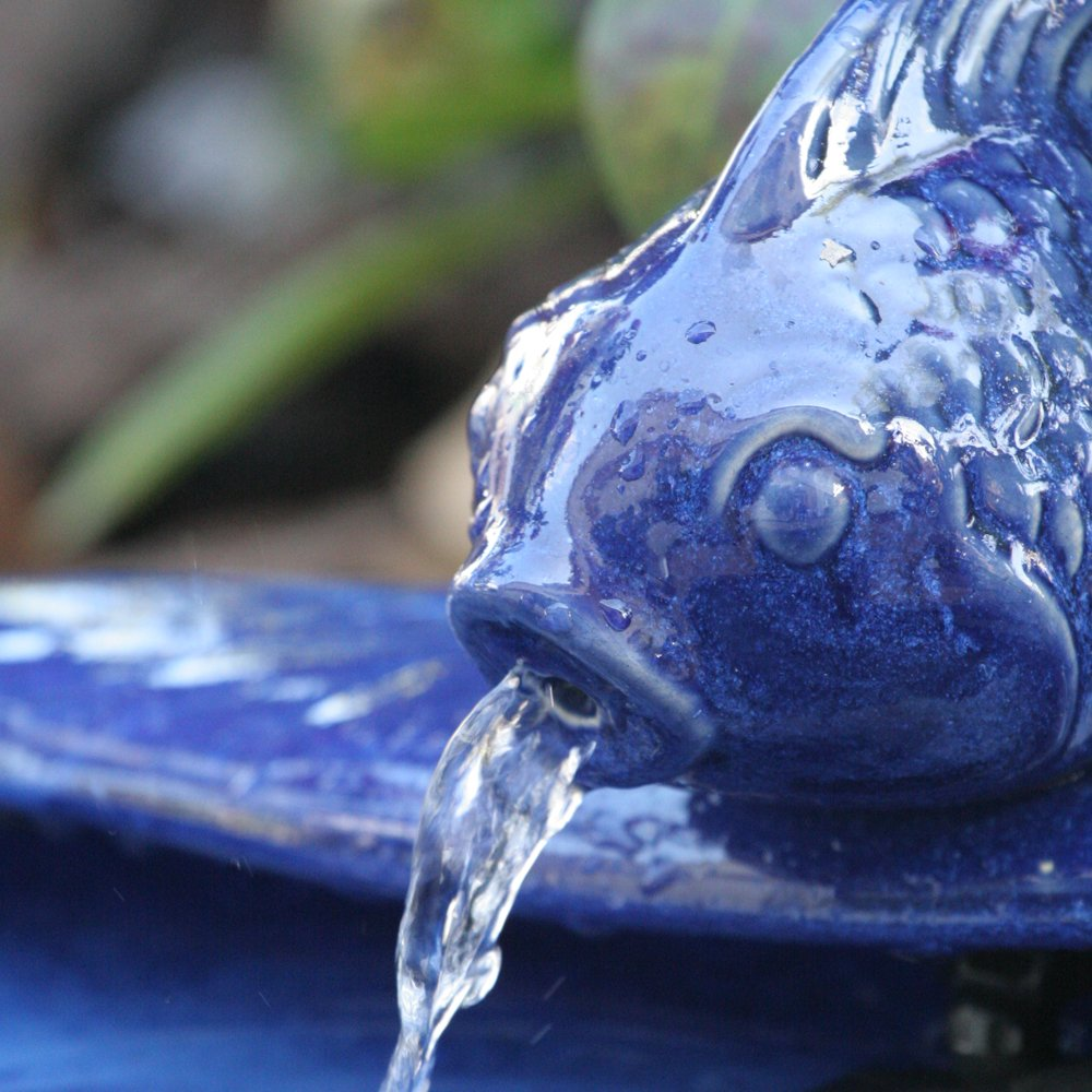 Smart Solar 21372R01 Ceramic Solar Koi Fountain, Blue Glazed Finish, Powered by an Included Solar Panel that Operates an Integral Low Voltage Pump With Filter