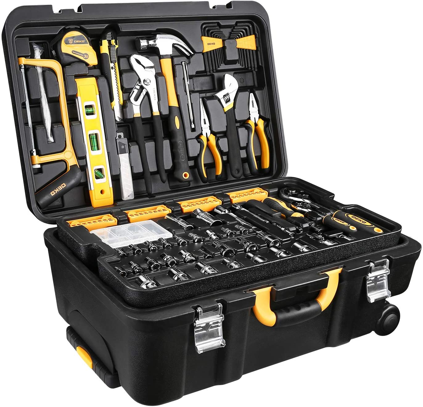 DEKO 258 Piece Tool Kit with Rolling Tool Box Mechanic Case Trolley Portable