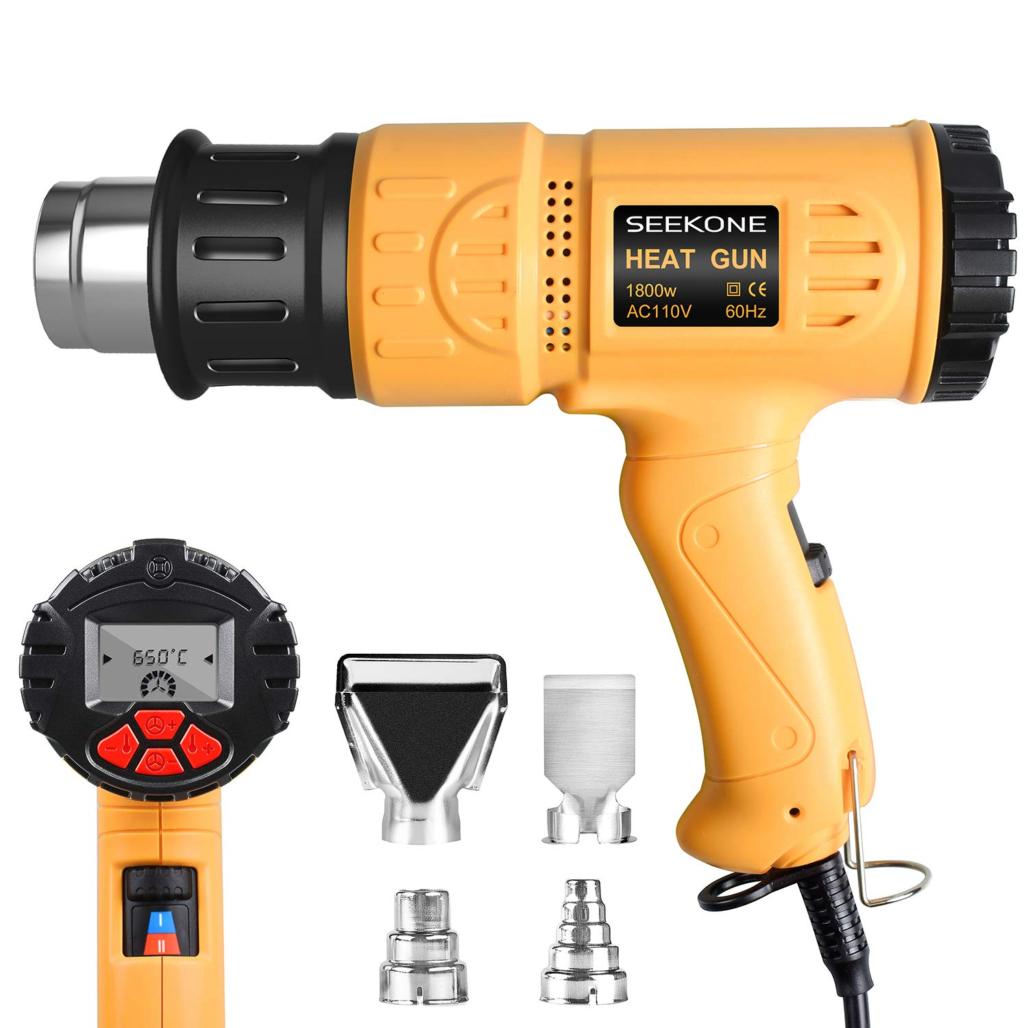 SEEKONE Heat Gun Industrial Hot Air Gun Kit 1800w 122℉~1202℉(50℃~650℃) with LCD Display Digital Precision Temperature Control, Dual Temp-settings for Removing Paint, Bending Pipes, Shrinking PVC