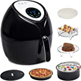 Total Package Air Fryer, 8-in-1 Digital Screen, with Endless Recipes, and Deluxe Accessory Kit by Yedi Houseware (5.8 QT)