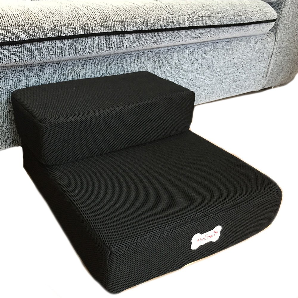 Black 2 layers step Black 2 layers step Foldable Pet Dog Cat Stairs Steps for Small Dog Breathable Mesh Dog Mat Cushion Bed Steps Ramp with Detachable Cover Pet Product (2 Layers Step, Black)
