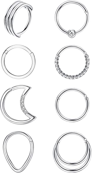 16 G Nose Ring Clicker Tragus  Cartilage  Earring Helix  Septum  Piercing