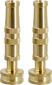 Biswing Brass Hose Nozzles, Heavy-Duty Brass Adjustable Twist Hose Nozzle, 2 Pack (4