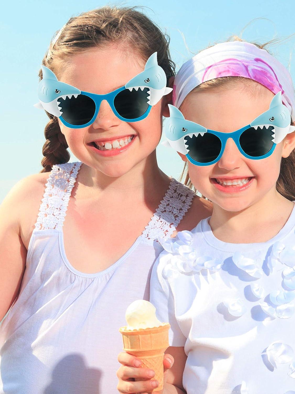 Frienda 3 Pairs Shark Sunglasses Funny Shark Eyeglasses Novelty Costume Sunglasses for Boys Girls Birthday Ocean Theme Party Decoration Photo Props Toys