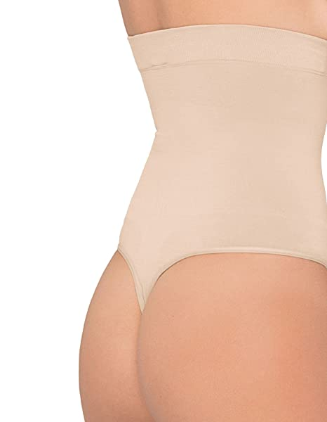 Body wrap 44841 faja reductora de cintura alta donnamoda (colour blanco) string slip bronceado