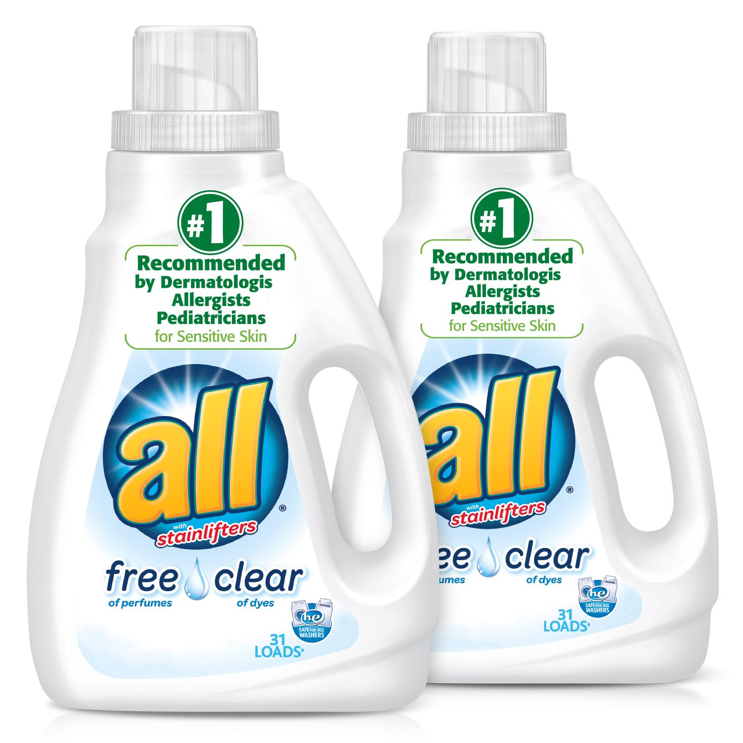 all Liquid Laundry Detergent, Free Clear for Sensitive Skin, 46.5 Fluid Ounces, 2 Count, 62 Total Loads by all