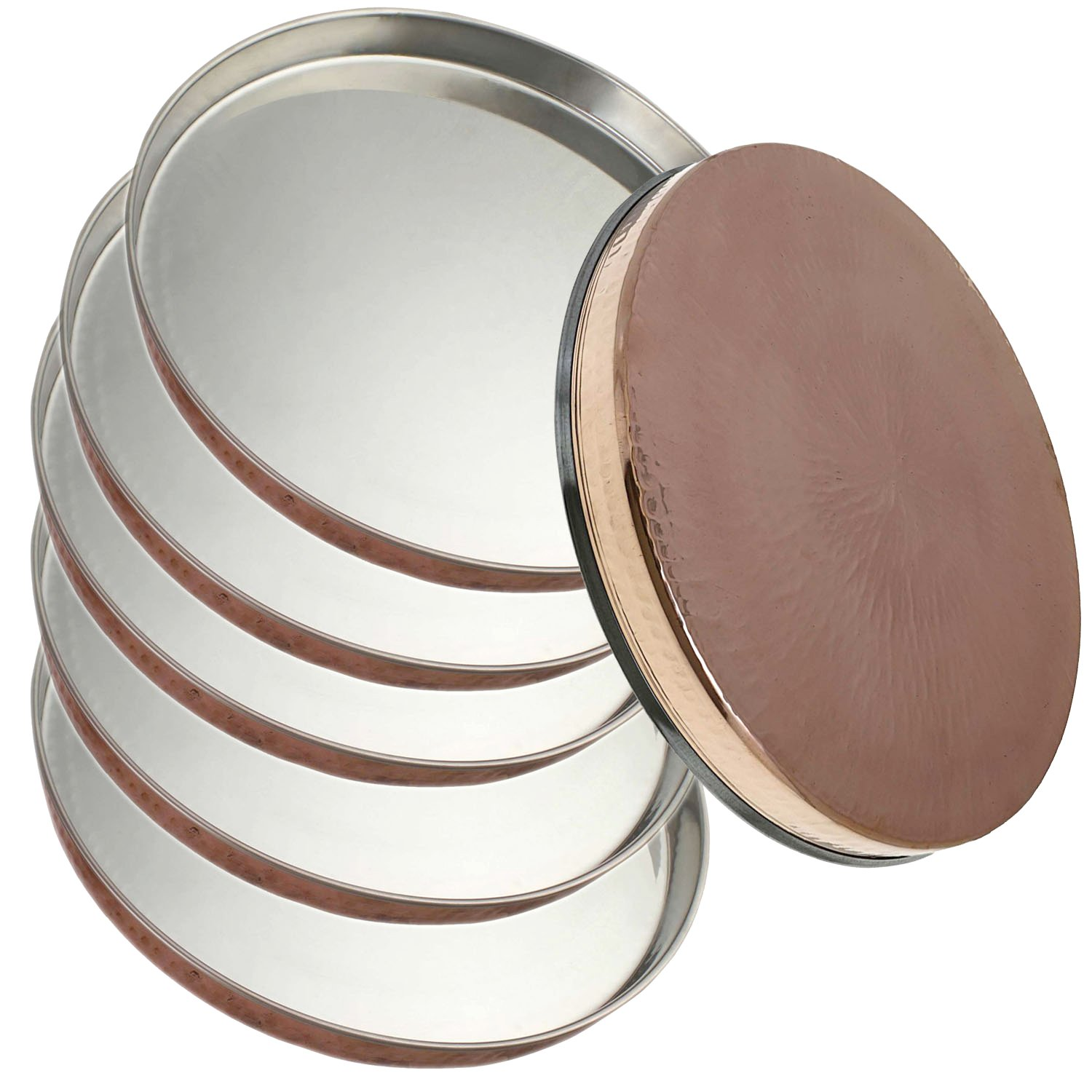 Service for 6 - Prisha India Craft Dinner Plate Thali Tableware Dinnerware for Indian Food and Dishes Stainless Steel Copperware Thali Set