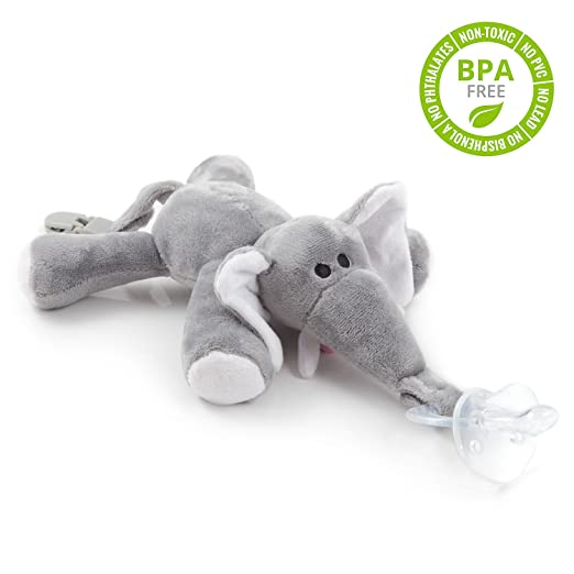 BabyHuggle 4 in 1 Plush Elephant Pacifier - Soft Stuffed Toy with Detachable Silicone Baby Binky, Clip Holder and Squeaky Sound - 100% Non Toxic & Safe - Soothing & Comfortable for a Good Night Sleep
