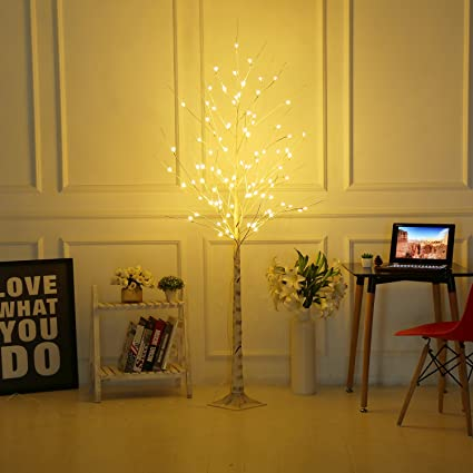 bolylight led birch tree 6ft 96l led christmas decorations lighted tree decor for bedroomparty - Led Christmas Decorations Indoor