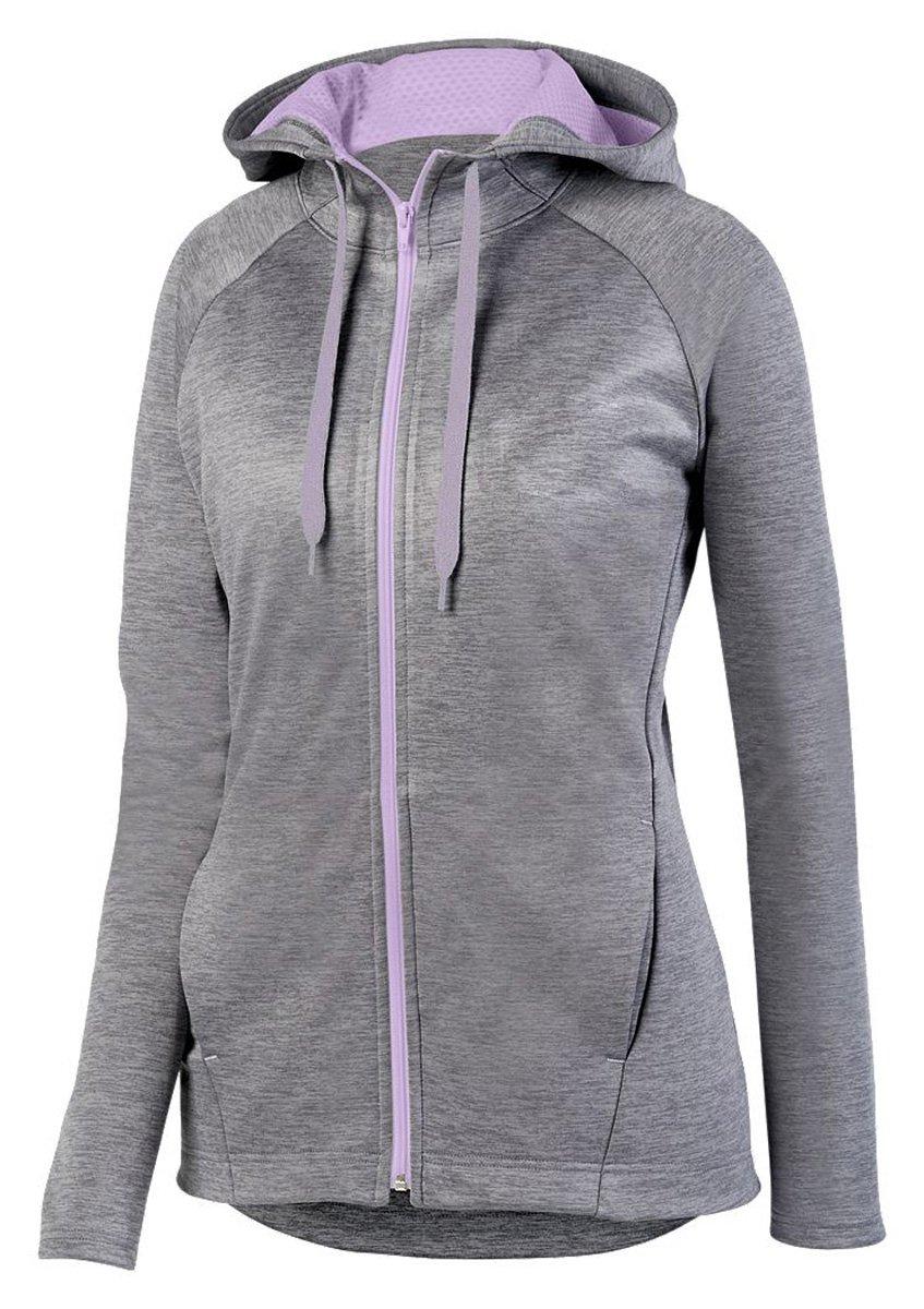 Augusta SportswearレディースZoe Tonal Heather Full Zip Hoody B073WRRZHL Large Graphite/Light Lavender Graphite/Light Lavender Large