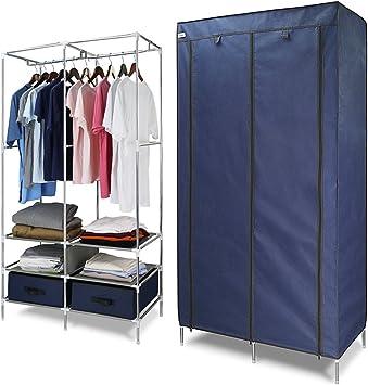 Finether Stoffschrank Textilschrank Faltschrank Faltkleiderschrank Stoffkleiderschrank Textilkleiderschrank faltbarer 87 x 45 x 170cm 2-türig Kleiderschrank mit Kleiderstange für Schlafzimmer stabil