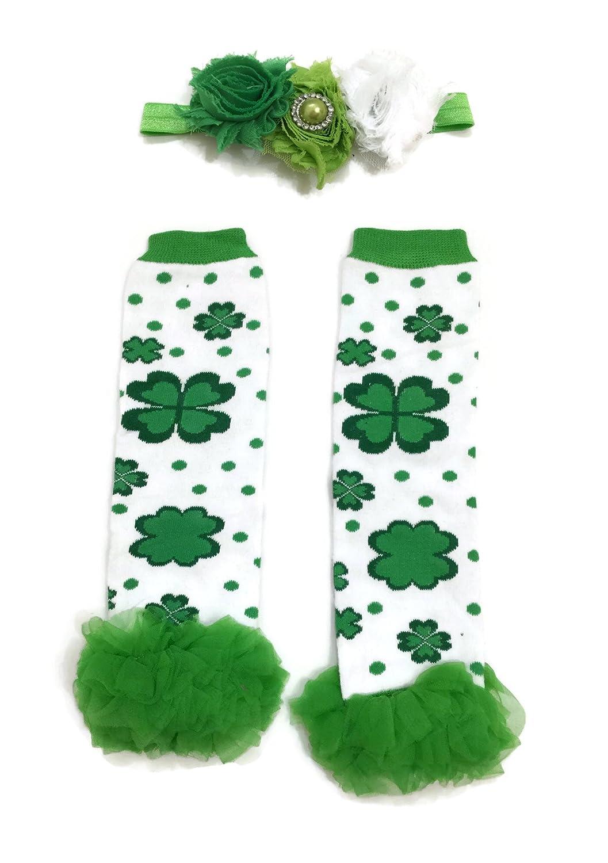 Headband Rush Dance Flowery Shamrock Ruffles St Patricks Day Baby Leg Warmer