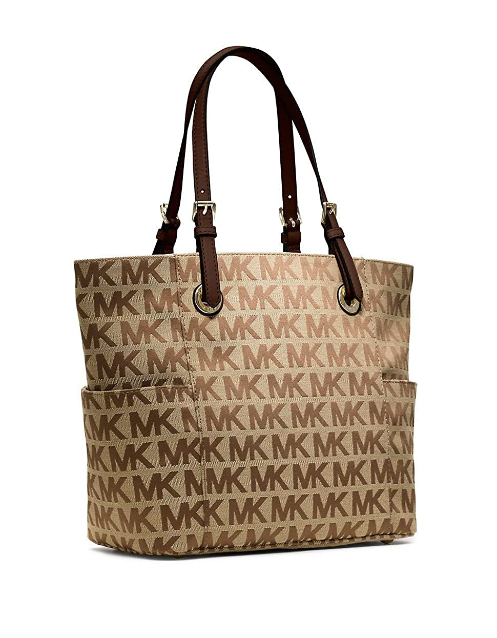 8db7a85c04 Michael Kors Jet Set East West Tote in Signature Beige Ebony   Mocha  Jacquard  Handbags  Amazon.com