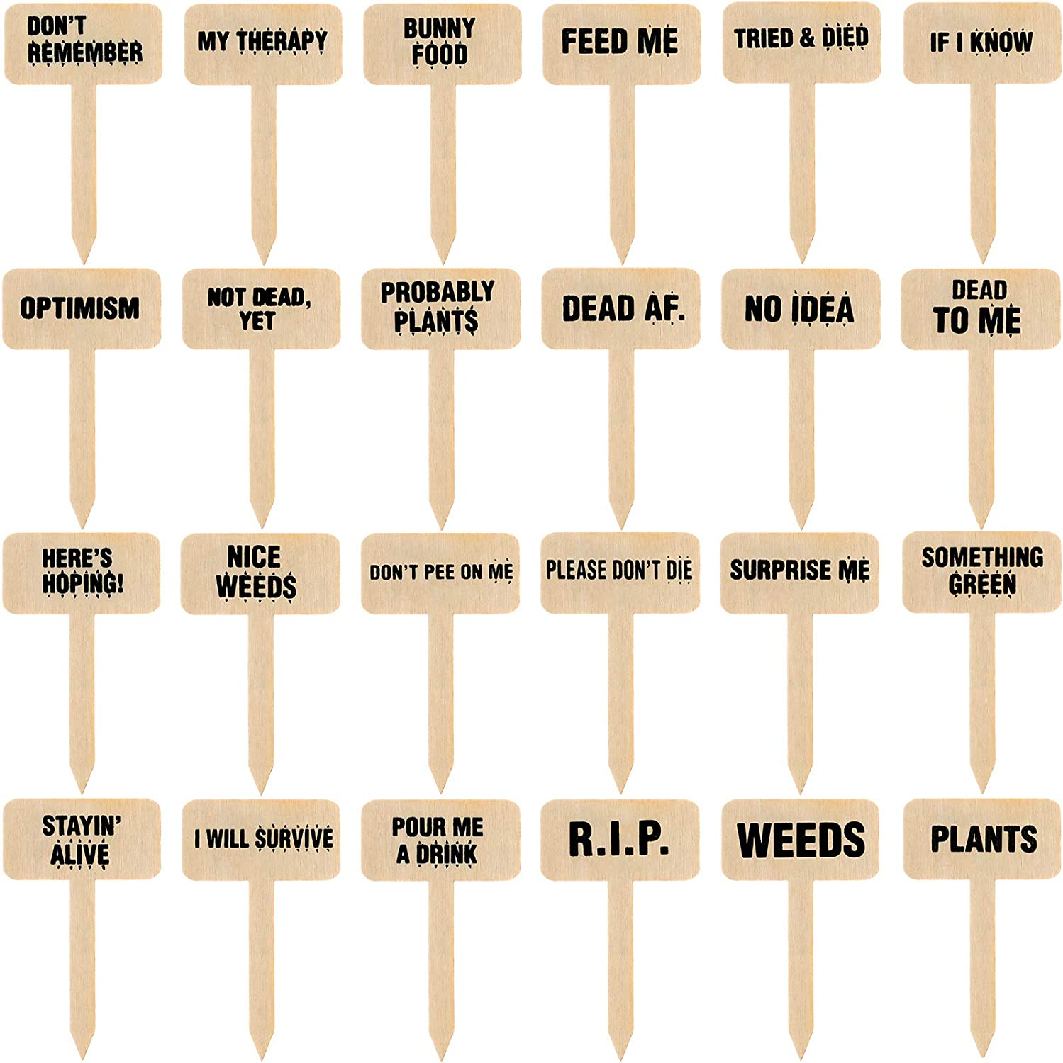 24 Pieces Funny Plant Markers T-Type Plant Sign Tags Wood Decorative Plant Labels Cute Plant Garden Labels for Plant Lovers Seed Potted Flowers Garden Planting Supplies Plant Accessories