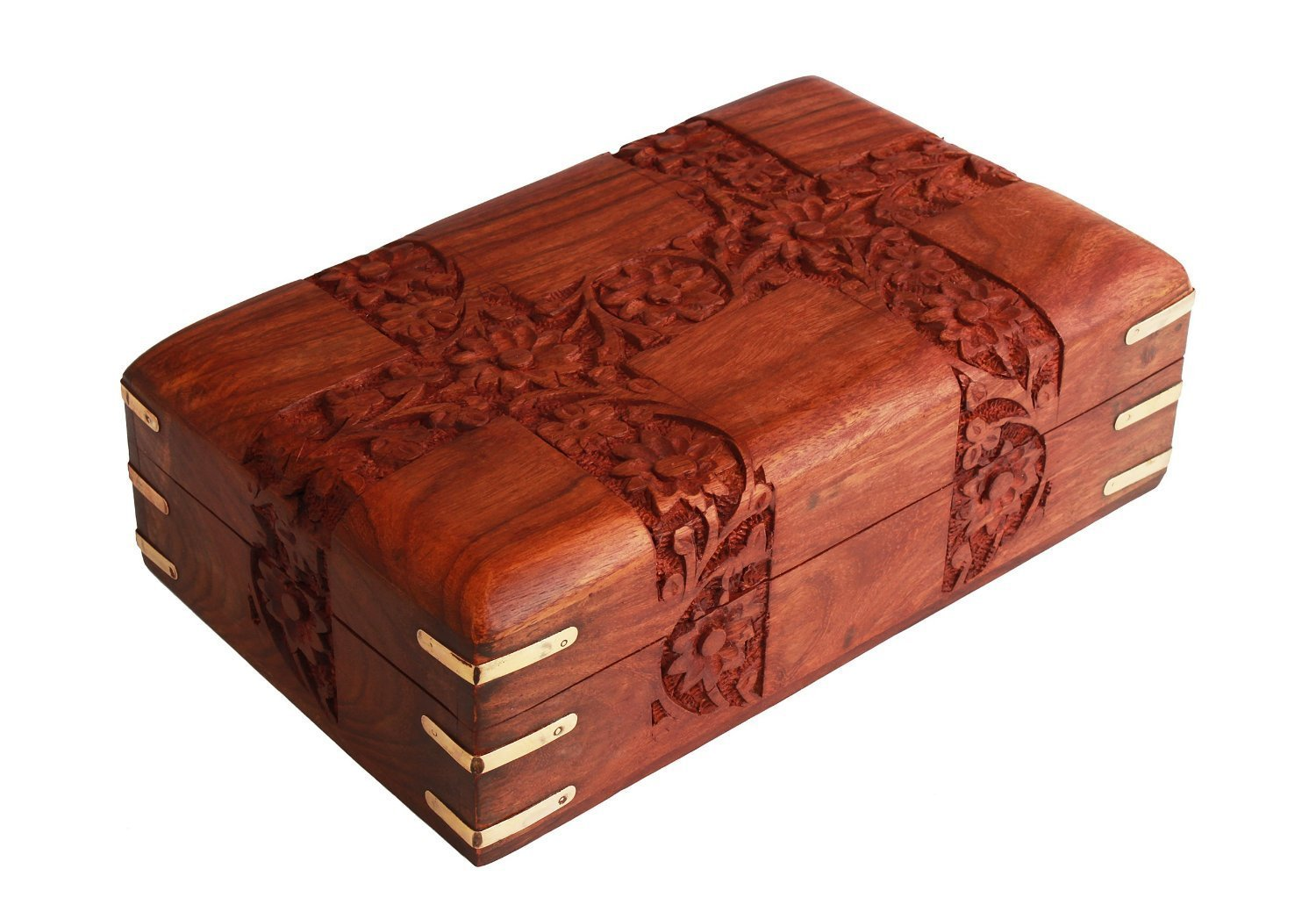 Charming Hand Carved Wooden Decorative Trinket Jewellery Box (15.2 X 10.2 X 6.4) Cm With Floral Carvings & Brass Corners Store Indya