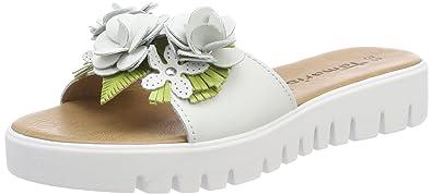 Tamaris Damen 27121 Pantoletten, Weiß (White/Green), 36 EU