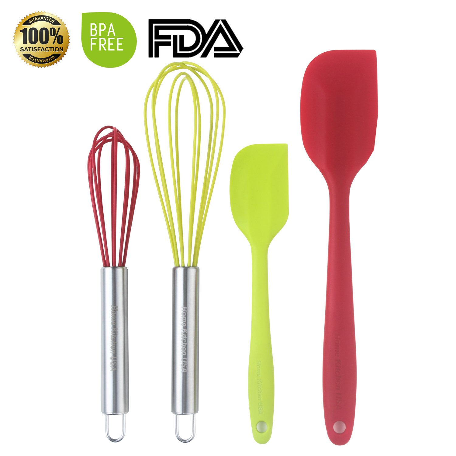 SET OF 4 Professional Quality Silicone Spatulas , Whisks For Cooking. Bright Red and Green Colors. Stainless Steel Coated Heat Resistant Dishwasher Safe