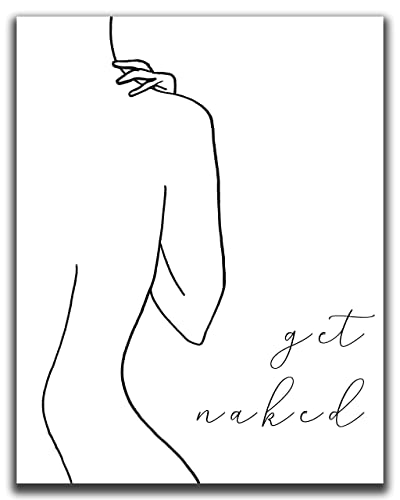 Amazon Com Abstract Minimalist Get Naked Bathroom Wall Decor 11 X14 Unframed Print Modern Contemporary Black White Line Art Female Figure Silhouette Funny Bathroom Wall Art Handmade