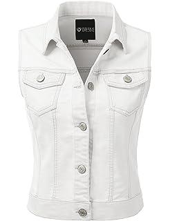 4153734f477ea7 WHITE APPAREL Women s Button Up Denim Vest (LARGE) at Amazon Women s ...