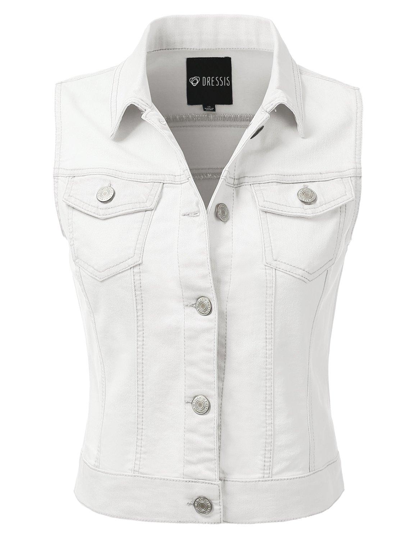 DRESSIS Womens Casual Sleeveless Denim Jean Cropped Vest Jacket WHITE XL
