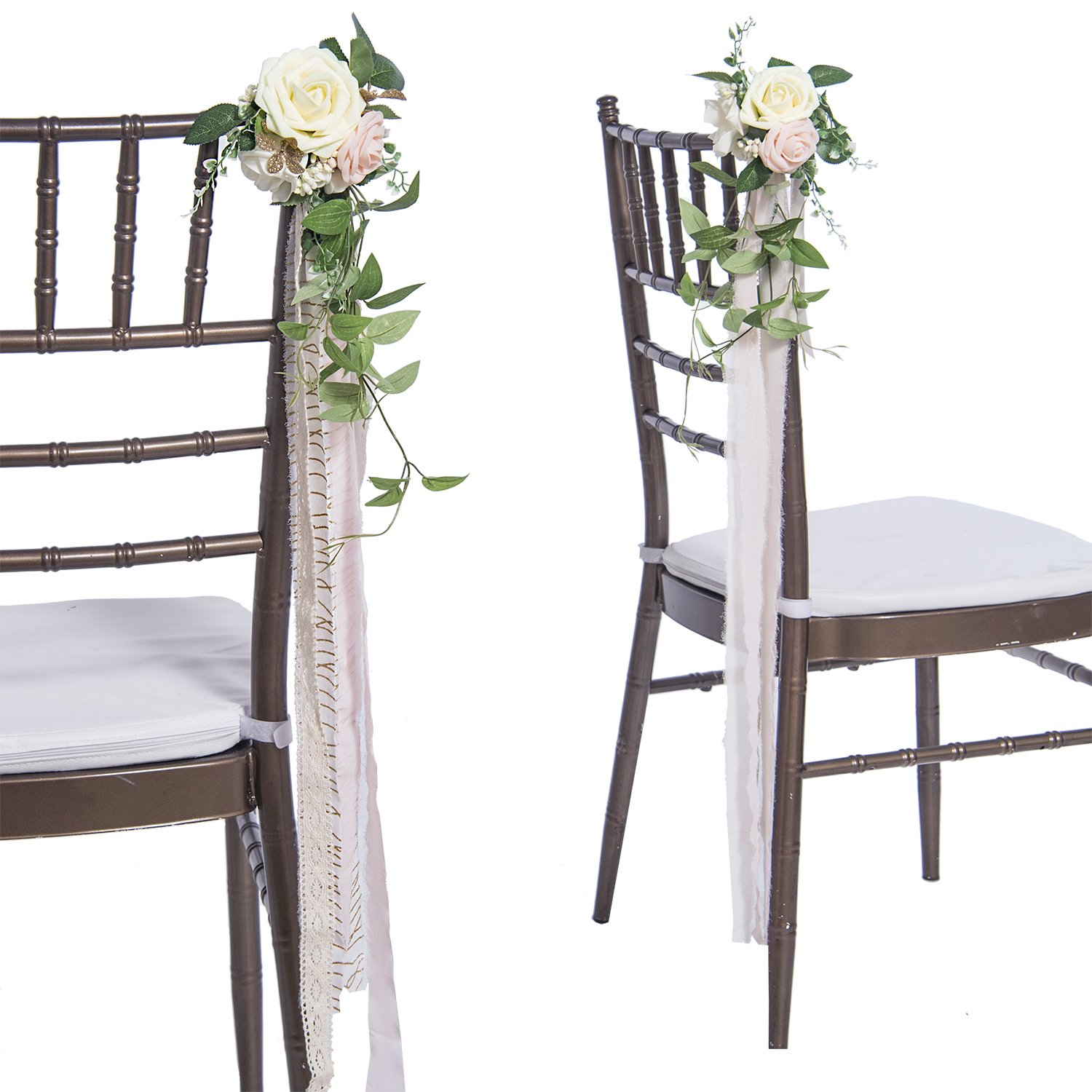 Ling's moment Wedding Aisle Decorations Flowers for Chairs Set of 8 Cream Blush Pew Flowers with Tails