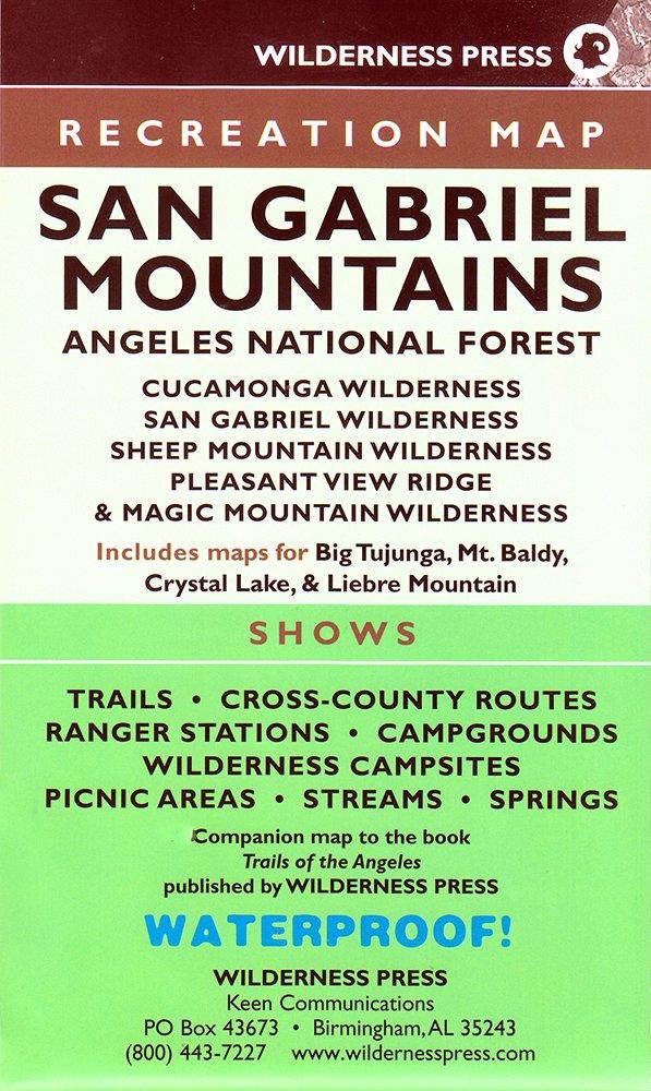 MAP San Gabriel Mountains Wilderness Press Amazon - Us map san gabriels mountain range