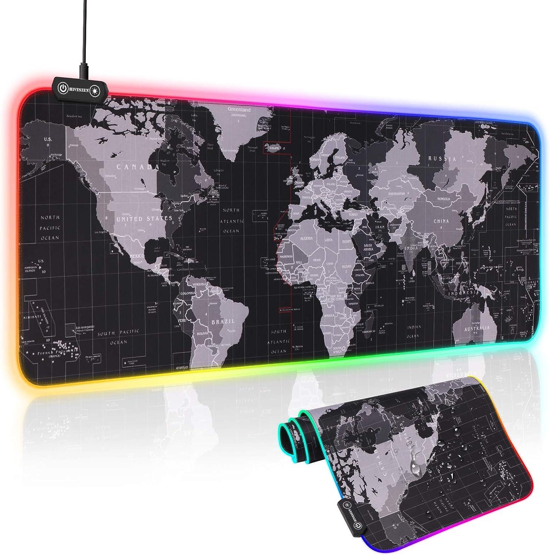Hiveseen Alfombrilla de Ratón Gaming, 800 * 300mm RGB Gaming Mouse Pad con 14 Modos Efectos de Luces, Superficie Texturizada Suave y Impermeable con Base de Goma Antideslizante para Gamers,PC