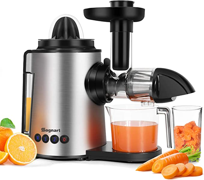 Amazon.com: Juicer Machines 2 in 1 Slow Masticating Citrus Juicers Fruits and Vegetables Cold Press Juice Extractor with Antioxidant Mute and Reverse Function, Include Juice Cup & Brush: Kitchen & Dining