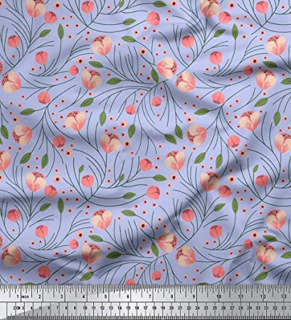 30c420862b8 Image Unavailable. Image not available for. Color  Soimoi 58 Inches Wide Floral  Printed Viscose Rayon Sewing Fabric ...