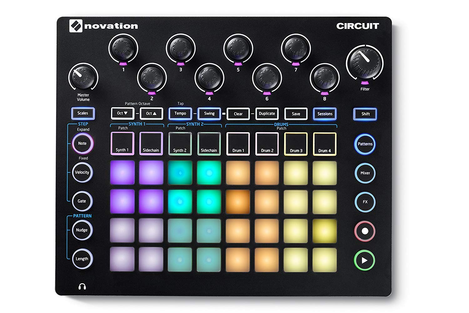 Novation Circuit Groovebox with Sample Import Bundle with 4 MXR Patch Cables and 10ft MXR Instrument Cable by Briskdrop (Image #2)