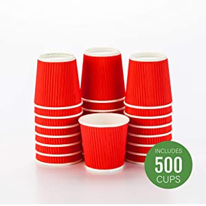 500-CT Disposable Red 4-OZ Hot Beverage Cups with Ripple Wall Design: No Need for Sleeves – Perfect for Cafes – Eco-Friendly Recyclable Paper – Insulated – Wholesale Takeout Coffee Cup