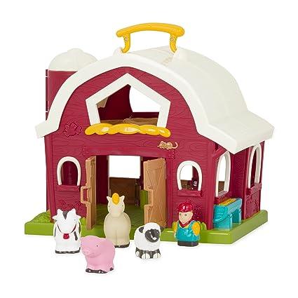 Amazoncom Battat Big Red Barn Animal Farm Playset For Toddlers